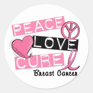 PEACE LOVE CURE BREAST CANCER CLASSIC ROUND STICKER