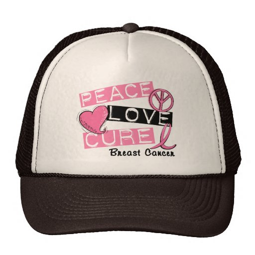PEACE LOVE CURE BREAST CANCER TRUCKER HAT