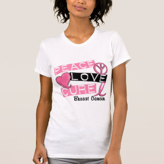 PEACE LOVE CURE BREAST CANCER T SHIRTS