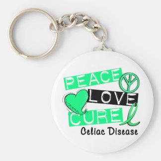 PEACE LOVE CURE CELIAC DISEASE T-Shirts Keychain