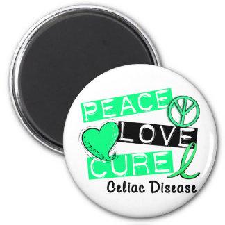 PEACE LOVE CURE CELIAC DISEASE T-Shirts Magnet