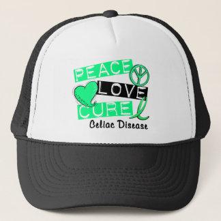 PEACE LOVE CURE CELIAC DISEASE T-Shirts Trucker Hat