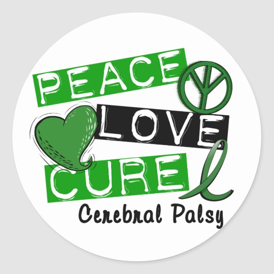 PEACE LOVE CURE CEREBRAL PALSY T-Shirts & Gifts Classic Round Sticker