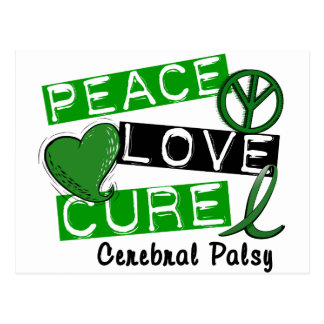 PEACE LOVE CURE CEREBRAL PALSY T-Shirts & Gifts Postcard
