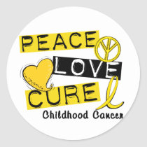PEACE LOVE CURE CHILDHOOD CANCER CLASSIC ROUND STICKER