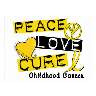 PEACE LOVE CURE CHILDHOOD CANCER POST CARDS