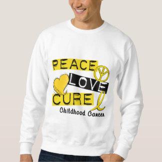 PEACE LOVE CURE CHILDHOOD CANCER SWEATSHIRT