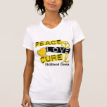 PEACE LOVE CURE CHILDHOOD CANCER T-SHIRTS
