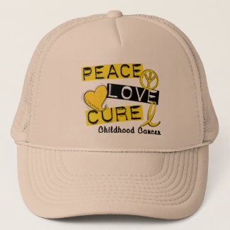 PEACE LOVE CURE CHILDHOOD CANCER TRUCKER HAT