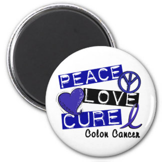 PEACE LOVE CURE COLON CANCER 2 INCH ROUND MAGNET