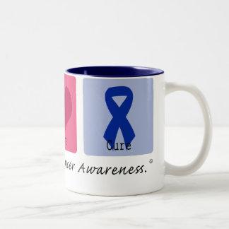 Peace Love Cure Colon Cancer Two-Tone Coffee Mug