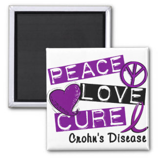 PEACE LOVE CURE CROHNS DISEASE 2 INCH SQUARE MAGNET