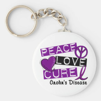 PEACE LOVE CURE CROHNS DISEASE BASIC ROUND BUTTON KEYCHAIN