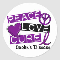 PEACE LOVE CURE CROHNS DISEASE CLASSIC ROUND STICKER