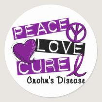PEACE LOVE CURE CROHNS DISEASE CLASSIC ROUND STICKER