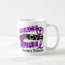 PEACE LOVE CURE CROHNS DISEASE COFFEE MUG