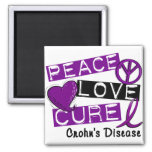 PEACE LOVE CURE CROHNS DISEASE FRIDGE MAGNETS