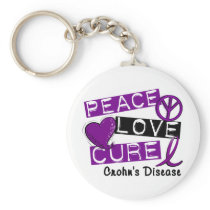 PEACE LOVE CURE CROHNS DISEASE KEYCHAIN