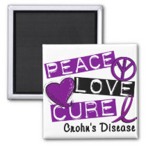 PEACE LOVE CURE CROHNS DISEASE MAGNET