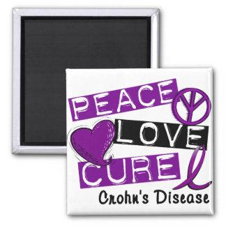 PEACE LOVE CURE CROHNS DISEASE MAGNET