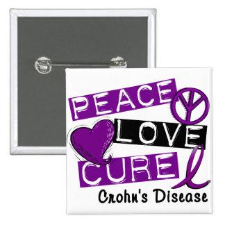 PEACE LOVE CURE CROHNS DISEASE PINBACK BUTTON