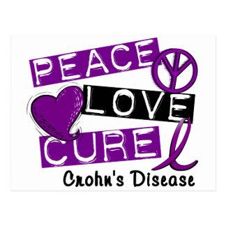 PEACE LOVE CURE CROHNS DISEASE POSTCARD
