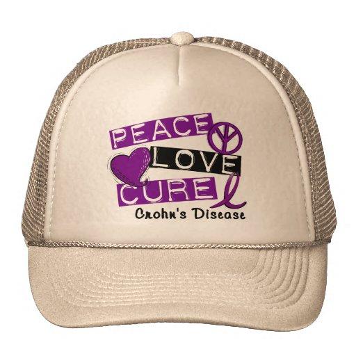 PEACE LOVE CURE CROHNS DISEASE TRUCKER HAT