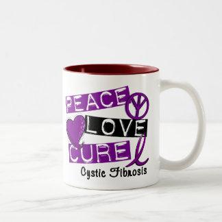 PEACE LOVE CURE CYSTIC FIBROSIS Two-Tone COFFEE MUG