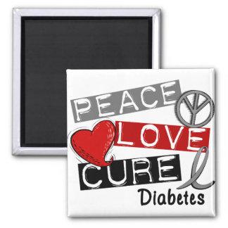 PEACE LOVE CURE DIABETES 2 INCH SQUARE MAGNET