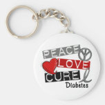 PEACE LOVE CURE DIABETES BASIC ROUND BUTTON KEYCHAIN