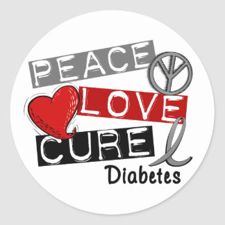 PEACE LOVE CURE DIABETES CLASSIC ROUND STICKER