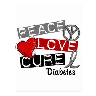PEACE LOVE CURE DIABETES POSTCARD