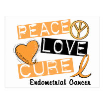 PEACE LOVE CURE ENDOMETRIAL CANCER POSTCARD