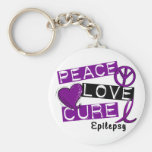 PEACE LOVE CURE EPILEPSY BASIC ROUND BUTTON KEYCHAIN