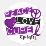 PEACE LOVE CURE EPILEPSY CLASSIC ROUND STICKER