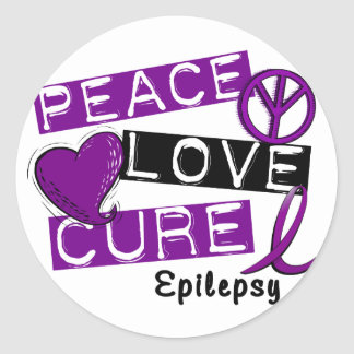 PEACE LOVE CURE EPILEPSY CLASSIC ROUND STICKER