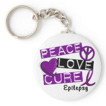 PEACE LOVE CURE EPILEPSY KEYCHAIN