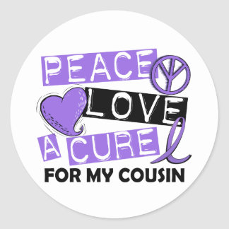Peace Love Cure H Lymphoma Cousin Classic Round Sticker
