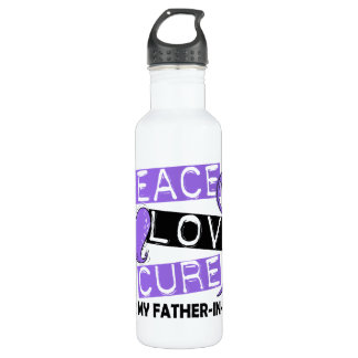 Peace Love Cure H Lymphoma Father-In-Law Stainless Steel Water Bottle