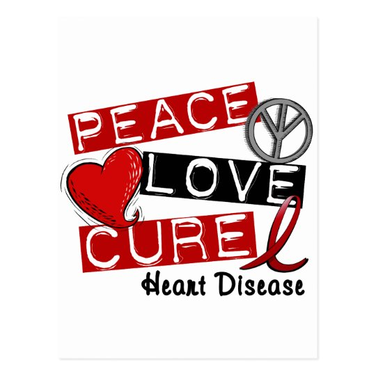 PEACE LOVE CURE HEART DISEASE POSTCARD