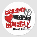 PEACE LOVE CURE HEART DISEASE CLASSIC ROUND STICKER