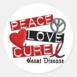 PEACE LOVE CURE HEART DISEASE CLASSIC ROUND STICKER