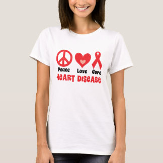 Peace Love Cure Heart Disease Womens T-shirt