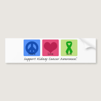Peace Love Cure Kidney Cancer Bumper Sticker