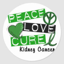 PEACE LOVE CURE KIDNEY CANCER (Green) Classic Round Sticker