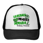 PEACE LOVE CURE KIDNEY CANCER (Green) Hat