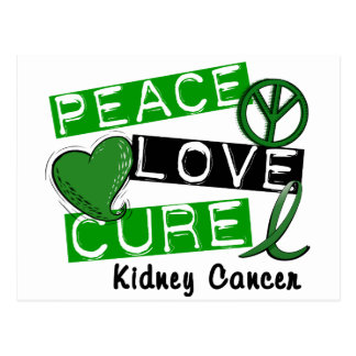 PEACE LOVE CURE KIDNEY CANCER (Green) Postcard