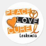 Peace Love Cure Leukemia Classic Round Sticker