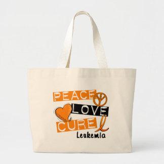 Peace Love Cure Leukemia Large Tote Bag