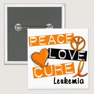 Peace Love Cure Leukemia Pinback Button